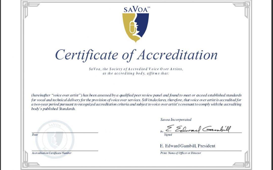 SaVoa Accreditation for Voice Over Artists | Nikki Saco